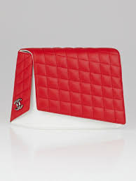 Chanel Red/White Quilted Lambskin Leather Fresh Air Clutch Bag ... & Chanel Red/White Quilted Lambskin Leather Fresh Air Clutch Bag Adamdwight.com