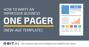 How To Write An Impressive Business One Pager New Age Template