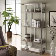 Dark Taupe Reclaimed-Look Chrome Metal Bookcase - Free Shipping Today -  Overstock.com - 15623638