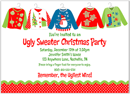These Ugly Sweater Christmas Party invitations are perfect for holiday tacky  sweater parties. The invitations are brightly colored and are very  affordable.