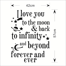 I Love You To The Moon Quotes I love you to the Moon Back quote wall stickers 24 wall decals 11