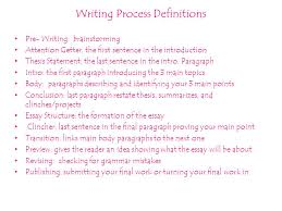 study guide for the exam by elise candies writing process  writing process definitions pre writing brainstorming attention getter the first sentence in the