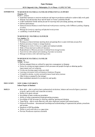 Resume Samples For Warehouse Jobs Warehouse Material Handler Resume Samples Velvet Jobs 35