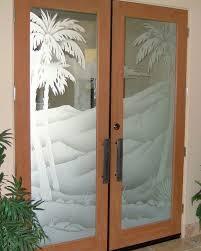Double Swinging Kitchen Doors Furniture Double Swing Oak Wood Door Alongside Etched Glass Palm