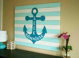 large wood anchor wall art with a silhouette or verse