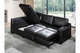 alonza leather black sofa bed l shape