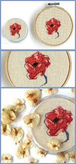 French Poppy Cross Stitch Coaster Pattern