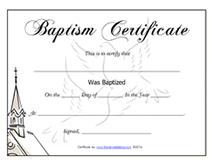 Free Printable Baptism Certificates Blank Template