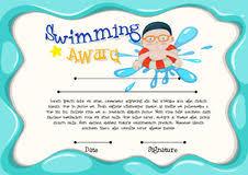 Certification Template Of Best Swimmer Stock Vector Illustration