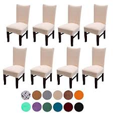 velvet spandex stretch dining room chair cover removable chair slipcovers set of 8 light