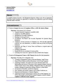 Resume Format For Experienced Company Secretary (1) | Career ...