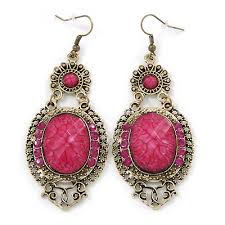 victorian style magenta acrylic bead crystal chandelier earrings in antique gold tone 80mm l