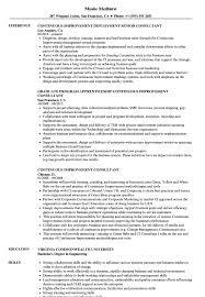 Continuous Improvement Consultant Resume Samples Velvet Jobs