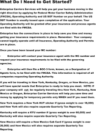 Form Boc 3 Designation Of Process Agents Thank You For Your Interest In Enterprise Carrier Services