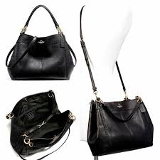 coach f23537 pebbled leather small lexy shoulder bag black size 32 28x23x10cm
