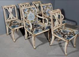 french style dining chairs for sale. this is a very sophisticated set of french empire style painted and gilded dining chairs. take notice the extremely elegant correct design chairs for sale
