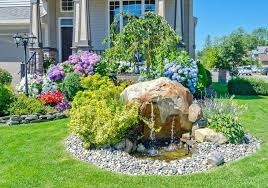 green rock landscaping small front yard