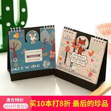 calendar 2018 creative simple small fresh cute korean desktop calendar plan trumpet note cartoon desk calendar