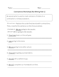 Kids Contraction Worksheets Contractions Free Printable Language ...