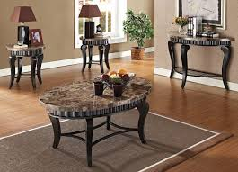 coffee table marble end table set black shades brown color mixed with wood table legs