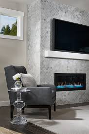 Floor-to-ceiling tile fireplace surround in our Lincoln model home, Kenmore,