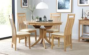 round extending oak dining table and 4 6 chairs set ivory extendable