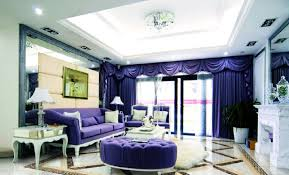 Purple Curtains For Living Room Purple Curtains Rendering In Modern Dining Room Interior Design