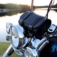 handlebar leather tool bag motorcycle windshield fork cargo pouch barbag black