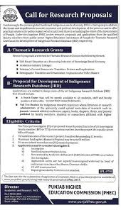 Research Proposals Simple PHEC Call For Research Proposals Grants Of IRD In Punjab Current