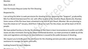 Permission Letters Template Permission Letter To Police Station For Film Shooting