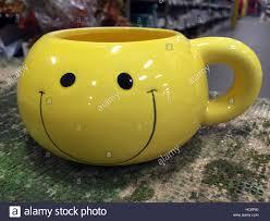 Smiley Face Coffee Mug Yellow Smiley Face Coffee Mug Stock Photo Royalty Free Image