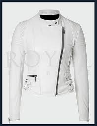 womens white biker leather jacket