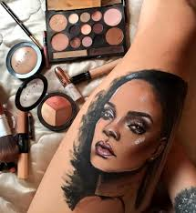This Tattoo Artist Makes Portraits Of Rihanna Using The Makeup Line