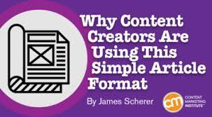 Content Creators Using Simple Article Format