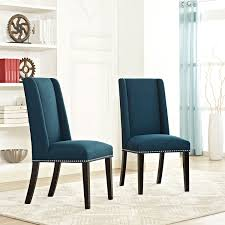 Patterned Dining Chairs Delectable Modway Furniture Baron Fabric Dining Chair In Azure Eei 48 Azu