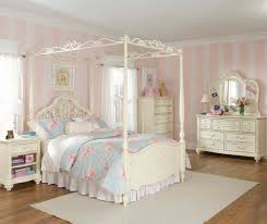 Bedroom Pretty Girls Bedroom Idea Using White Canopy Bed And Cozy