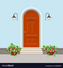 Orange front door Modern Nuggetlands Orange Front Door With Electric Lanterns On The Vector Image