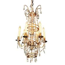 antique french crystal and bronze six light chandelier