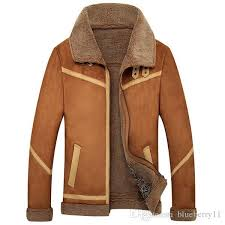 new men suede leather jackets winter fur coats vintage camel coffee man wool outerwear warm fleece lining plus size m 4xl by blueberry11