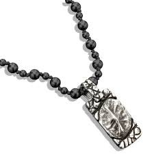 silver carved crocodile dog tag on black onyx bead necklace men s necklaces lazaro soho