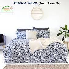 3 pce arabica navy white quilt cover set by apartmento queen king