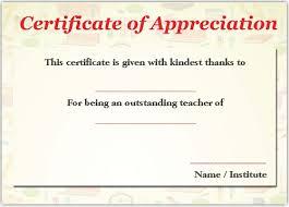 Best Teacher Certificate Templates Free 11 Printable Certificates Of Appreciation For Teachers Best