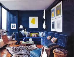 living room small living room decoration with navy blue sofa and striped rug plus white