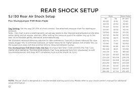 Fox Rear Shock Air Pressure Chart Rear Shock Setup Sj 130 Rear Air Shock Setup Fox