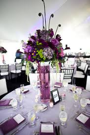 Awesome Centerpieces Design : Awesome Wedding Dining Table Decoration With  Round Table Plus Purple Table Sheet