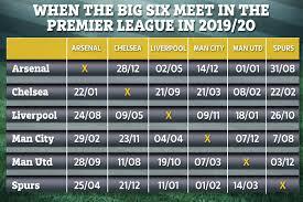 Premier League 2019 20 Fixtures Chelsea Arsenal Man Utd