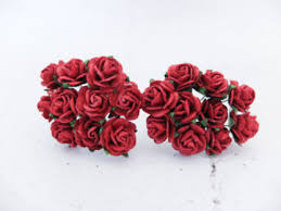 Red Paper Flower 1 5 Cm Mulberry Paper Roses With Wire Stems 15mm 100 Roses