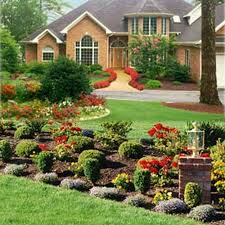 landscape design for front yard area lighting flower bed