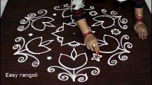 Step By Step Kolam Designs With Dots Deepam Kolam Designs With 11x6 Dots Easy Diy Rangoli Arts Step By Step Procedure Muggulu Designs