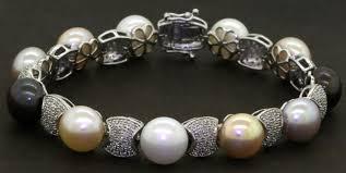 Tahitian Pearl Color Chart Heavy 14k Wg 2 0ctw Diamond 9 5mm Pink White Tahitian Pearl Link Bracelet Ebay